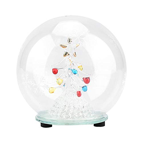 Christmas Tree Glass Ball Crystal Glass Ball 7 Kinds LED Lamp Light Effect Light Up Globe with Angel, Tree Vine, Red Heart, Green Leaf for Home Office Decor Ideal Christmas Birthday Gift(# 1)
