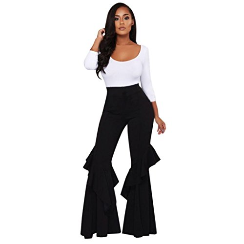 Fiaya Womens High Waist Fitted Flared Frill Hem Palazzo Ruffle Party Pants Trousers (Black, X-Large)
