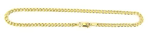 Gold Bracelet Tone 10k Two (Real 10k Yellow Gold Hollow Cuban Men and Women Bracelet/Anklet 2.5 mm (8))