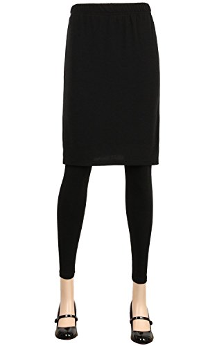 ililily Black Stretchy Leggings Length