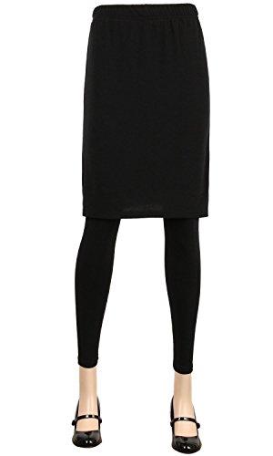 ililily Black Plain Solid Color Stretchy Leggings With H Line Knee Length Skirt(leggings-240-1-2XL) -
