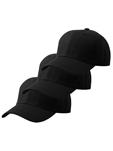 Unisex Plain Structured Curved Visor Adjustable Velcro Baseball Cap Hat - 3 Pack Value