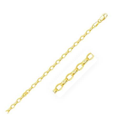 3.2mm 14K Yellow Gold Oval Rolo Chain