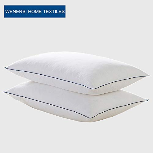WENERSI White Goose Feather and Down Pillows for Sleeping(2-Pack,Queen Soft) 100% Cotton Shell with Ultra Fresh Treatment