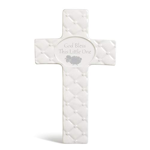 Bless Baby God Cross (DEMDACO Baby Blue God Bless This Little One 7 inch Ceramic Table Top Cross)