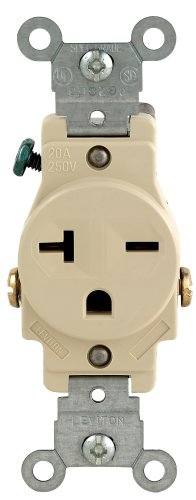 Wiring Electrical Outlets (Leviton 106-05821-ISP 20-Amp 250-Volt Single Receptacle Electrical Power Outlet,)