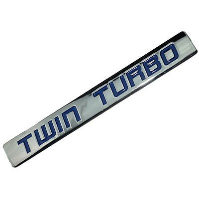 Chrome/Blue Metal Twin Turbo Engine Motor Swap Emblem Badge For Hood Door for Mazda MX-5 Miata (Twin Turbo Motor)