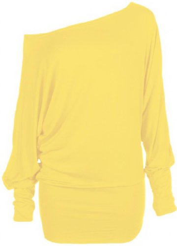 Hot Hanger Womens PLUS SIZE Batwing Top Plain Long Sleeve Off Shoulder Big Size Tshirt Top 16-26 (16-18 LXL, Yellow) (T-shirts Jumpers)