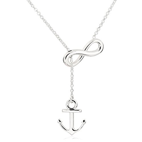 ELBLUVF Newest Stainless steel Silver Plated Anchor and Infinity Lariat Y Necklace 18inches For Women