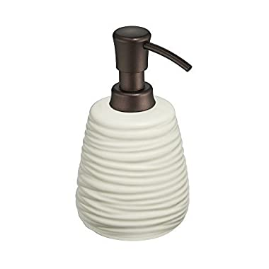 mDesign Kitchen and Bath Ceramic Soap & Lotion Dispenser 14 oz, Natural/Bronze