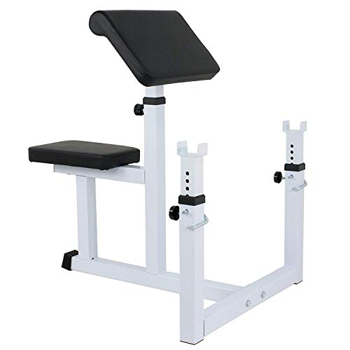 Saturnpower Adjustable Preacher Curl Bench Fitness Weight Bench Dumbbell Biceps Training Bench for Sport Arm Curl Bench for Home Gym Business Family Exercise Equipment