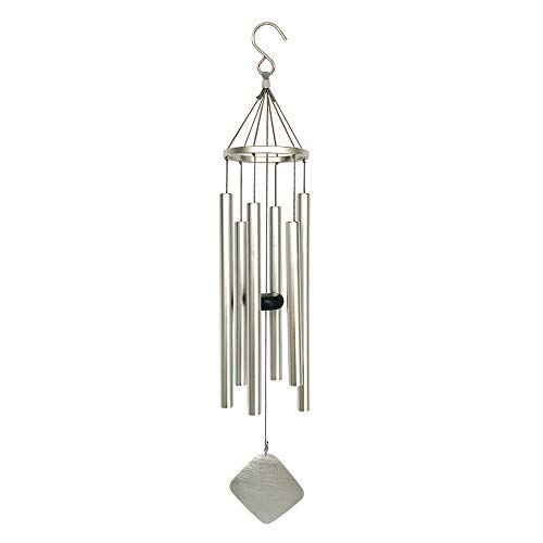 BLESSEDLAND Premium Wind Chimes-6 Hollow Aluminum Tubes, 28 Amazing Grace Wind Chime for Garden,Yard,Patio and Home Decoration (Silver)