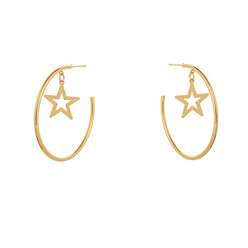 Large Round Hoop Star Dangle Earrings Women Lightweight Cool Stud Huggie Clip On Girls Rose Gold Or Sterling Silver Golden