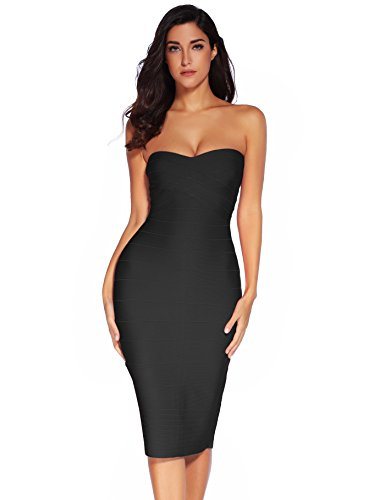 Meilun Women's Rayon Strapless Below Knee Bandage Bodycon Party Dress Black Small