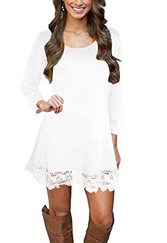 Afibi Women's Long Sleeve A-Line Lace Stitching Trim Casual Dress (Small, White)