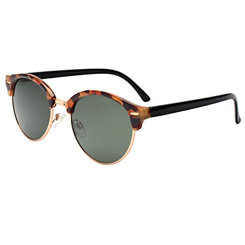 VIVIENFANG Classic Clubround Aviator Sunglasses Lightweight Semi Rimless Polarized Shades for Unisex P2116A Brown ()