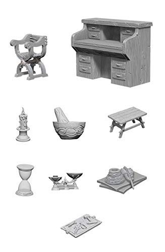 Wiz Kids Deep Cuts Unpainted Miniatures Bundle: Desk & Chair + Workbench & Tools