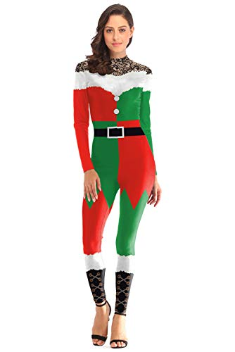 1a2f6142b1 Amazon.com  Women Ugly Christmas Onesie Funny Xmas Party Santa 3D Print  Jumpsuit Bodysuit  Clothing