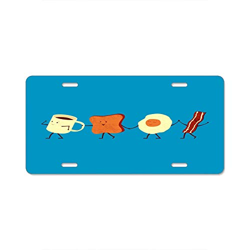 YEX Abstract License Plate Let's All Go and Have Breakfast High Gloss Aluminum Novelty Car Licence Plate Covers Auto Tag Holder 12