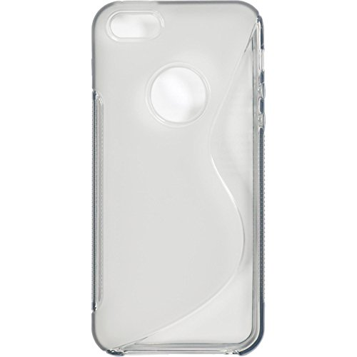 PhoneNatic Case für Apple iPhone 5 / 5s / SE Hülle Silikon clear S-Style Logo Cover iPhone 5 / 5s / SE Tasche + 2 Schutzfolien
