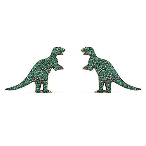 MIXIA Full Crystal Stud Earrings Jurassic Park T-Rex Dinosaur Green Rhinestone Earring for Women Party Jewelry Gift (Stud)