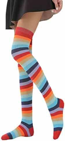 8fba03171 Mitario Femiego Women Casual Striped Stocking Over The Knee Thigh Long Sexy  Socks