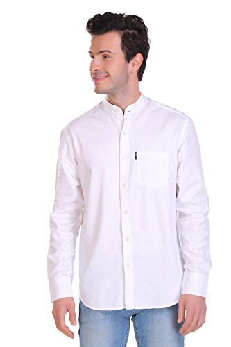 HI BORN Men White Twill Solid Shirts Full-Sleeves (Poly Cotton)