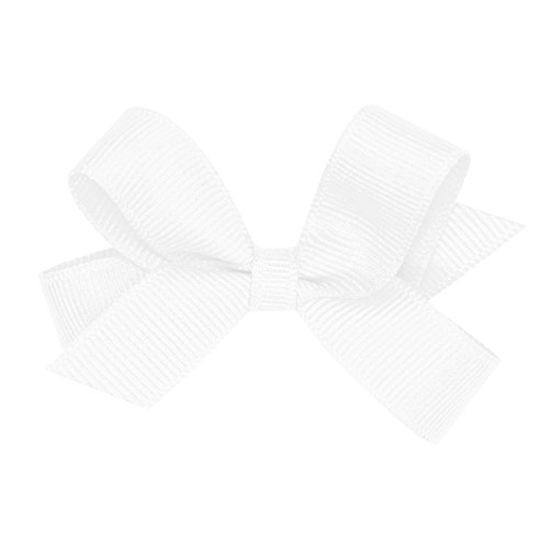 Wee Ones Baby Girls#039 Tiny Grosgrain Hair Bow on a WeeStay Clip w/Plain Wrap  White