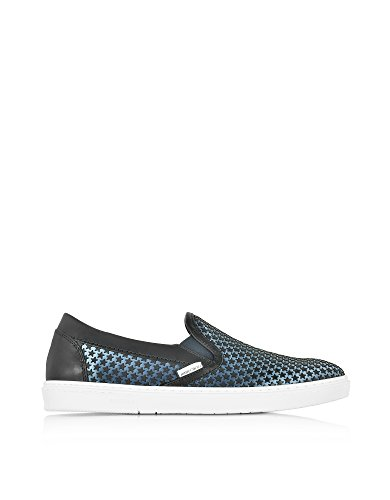 JIMMY-CHOO-MENS-GROVEAMRAVIONBLACK-BLUE-SATIN-SLIP-ON-SNEAKERS