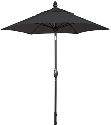 SORARA Patio Umbrella Outdoor Market Table Umbrella with Push Button Tilt Crank Umbrella Cover, 7.5 Feet, Black