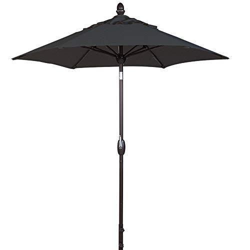 SORARA Patio Umbrella Outdoor Market Table Umbrella with Push Button Tilt&Crank&Umbrella Cover, 7.5 Feet, Black (Patio Umbrella 7' Tilt)