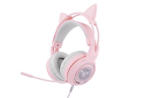 SOMIC G951pink Gaming Headset: 7.1 Virtual Surround Sound Detachable Cat Ear Headphomes LED, USB, Lightweight Self-adjusting Over Ear Headphones For Girlfriend Women Kids