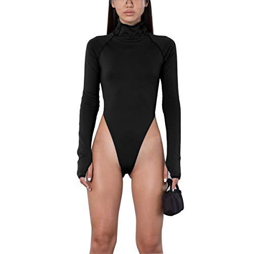 (AZHONG Women's Basic Solid Sexy Bodysuit Turtleneck Leotard Top Long Sleeve Bodycon Jumpsuit Stretchy Romper Black)