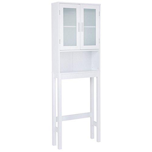Over The Toilet Storage Cabinet Space Saver Organizer Bathroom Tower Rack Wooden White by Erama-ix