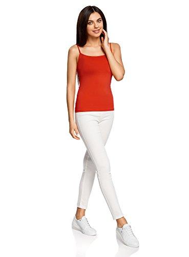 oodji Ultra Mujer Camiseta de Tirantes Básica Rojo (4500N)