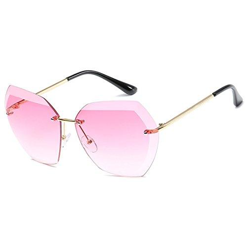 Cutting sin sin de Gafas mujeres Inlefen Rosa marco UV400 montura Sun Lens gran sol Dorada de para Glasses tamaño Diamond qOvnqRtwF