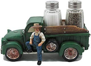 Vintage Farmer and Pickup Truck Salt and Pepper Shaker Set Figurine for Old Fashioned Farm Country Kitchen Decor Sculptures and Rustic Statues or Classic Retro Gifts for Farmers