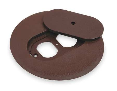 Floor Box Cover, Round, 6 in., Brown