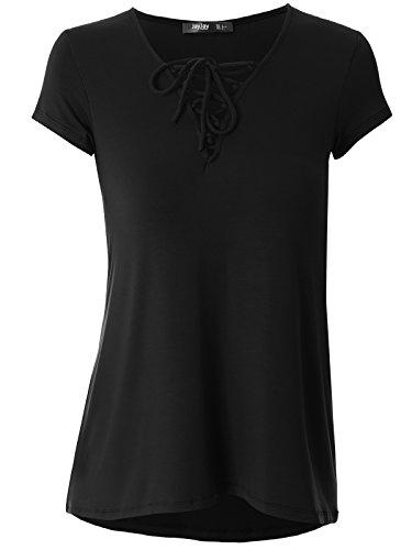 JayJay Women Cute Crisscross Neck Short Sleeve Casual Shirt Top,Black,3XL ()