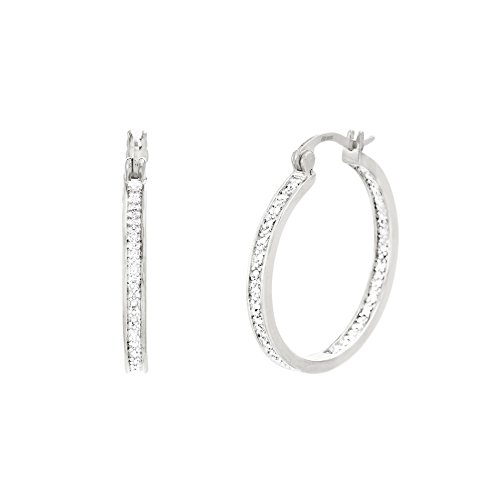 Lumineux Diamond Womens Single Line Diamond Accents Hoop Earrings with 18K White Gold Plated Brass, (Diamond Shaped Hoop)