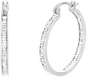 Lumineux Diamond Womens Single Line Diamond Accents Hoop Earrings with White Gold Plated Brass, 20mm