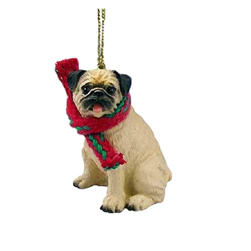 - 1 X Pug Miniature Dog Ornament - Fawn by Conversation Concepts