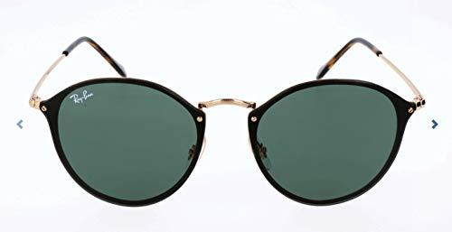 Ray-Ban RB3574N Blaze Round Sunglasses, Gold/Green, 59 ()