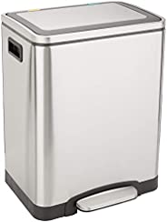 AmazonBasics C-10049FM-30L Trash can, 2 x 15L, Brushed Stainless Steel