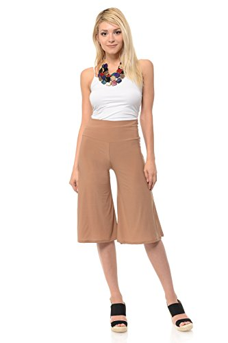 iconic luxe Women's Solid Color High Waisted Cropped Pants Large Mocha ()
