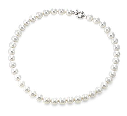 (Joia De Majorca, 10mm Simulated White Pearl Necklace with Rhodium Euro Clasp, 18 inch, Organic Man-Made Pearls from Majorca Spain, Platinum Plated Euro Clasp, Comes with Complementary Jewelry Box)