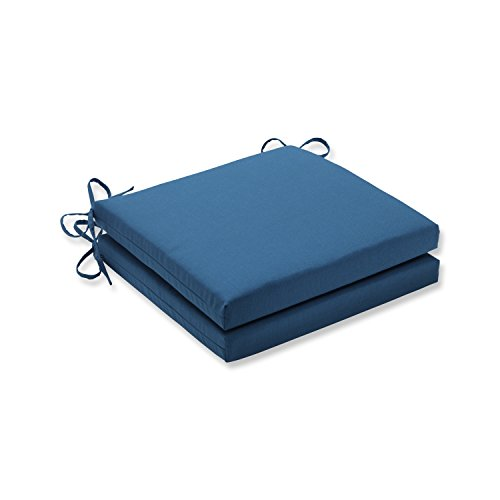 Pillow Perfect Indoor/Outdoor Squared Corners Seat Cushion (Set of 2) with Sunbrella Spectrum Peacock Fabric, 20 in. L X 20 in. W X 3 in. D (Cushion Set Sunbrella)