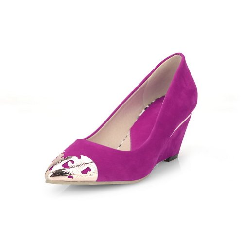 M B Closed Pumps with Solid PU US Toe Mid Womens WeiPoot Rosered Pointed Metalornament 7 Frosted Wedge Heel Zqg15ax