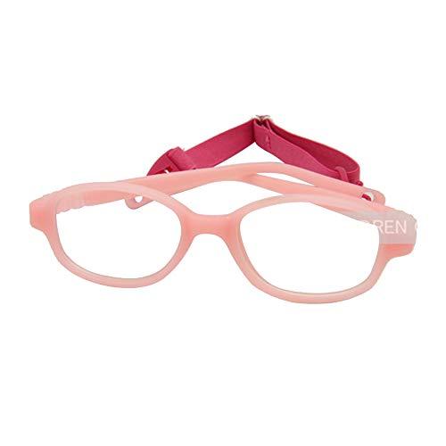 EnzoDate Children Glasses Frame Size 41mm No Screw, One-Piece Optical Baby Eyewear with Strap Cord, Kids Eyeglasses, Safe Boys Girls Glasses Frame (Pink)