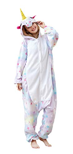 Unisex-Adult Unicorn Animal Cosplay Onesie,One Piece Cute Cartoon Pajamas Costumes for Women Men S